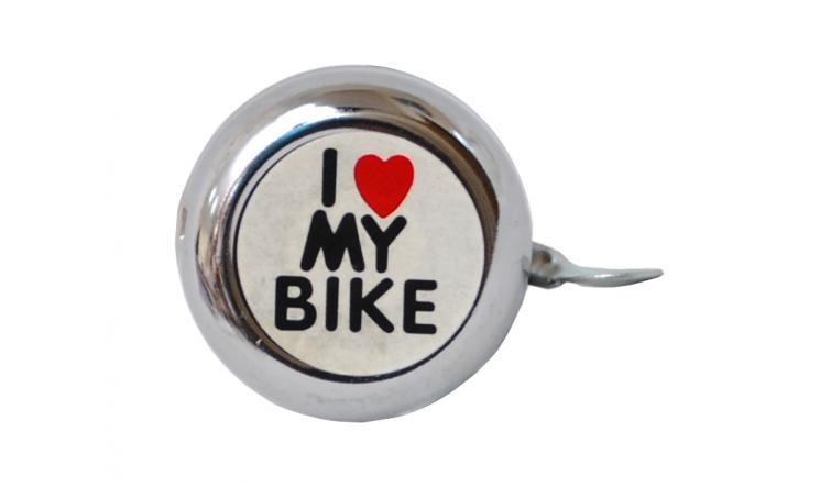 "Звонок детский серебристый с рисунком ""I love my bike"""