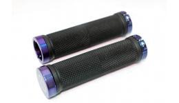 Ручки 3-332 на руль CL201CF резиновые 130мм с 2 фиксат. черно-синие анодир. CLARK`S SALE