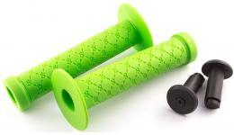 Ручки 3-404 на руль С100 резин. BMX 145мм торц. защита+защита от проскальз.+1фикс. зеленые CLARK`S