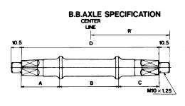 Каретка/вал 5-352600 с гайками 121,5мм для резьбы BSA 68мм