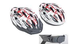 Шлем 8-9001373 спорт. с сеточкой Vento 126 Red 17отв. INMOLD красно-белый 58-61см (10) AUTHOR