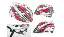Шлем 8-9001391 спорт. Aero 121 Red/wht профи 25 отв. Double InMold+алюм. красно-белый 58-62см AUTHOR
