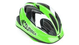 Шлем 8-9089930 с сеточкой Сourage INMOLD детский/подр. 11отв. зелено-черно-белый 52-57см (10) AUTHOR