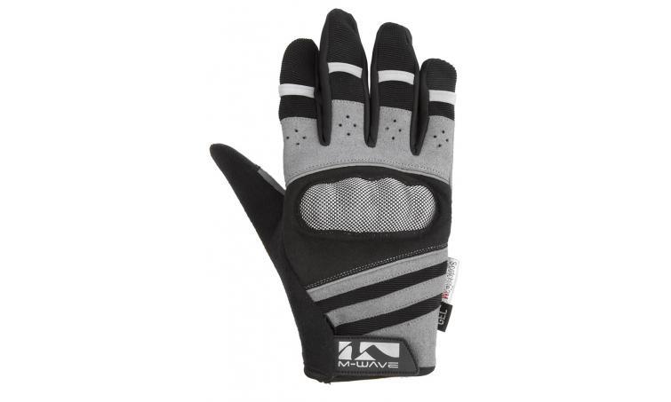 Перчатки 5-719856 длин. гель/лайкра дыш. д/сенсора антискольз. S с защитой черно-серые M-WAVE