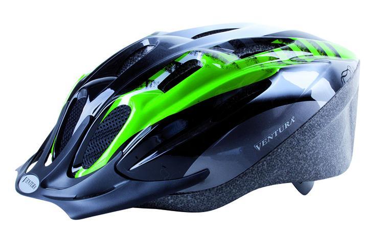 Шлем 5-731037 с сеточкой 11отв. 58-62см черно-бело-зеленый VENTURA
