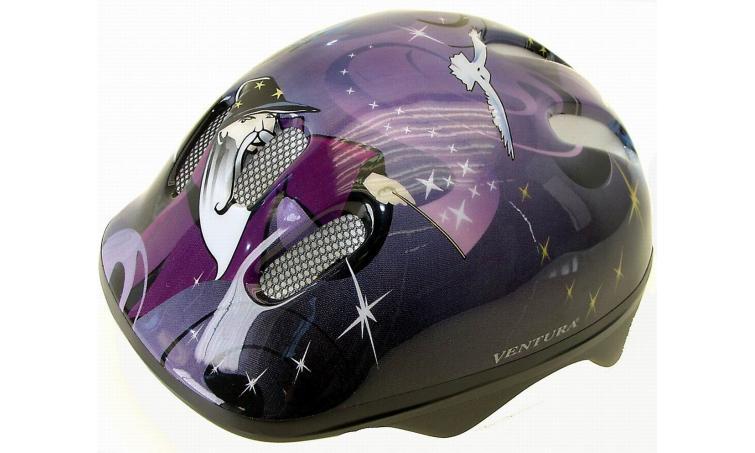 Шлем .детский/подростк. 5-731123 с сеточкой 6отв. 52-56см WIZARD/пурпурно-сине-черный (10) VENTURA