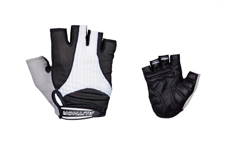 Перчатки 8-7130591 Men Elite Gel черно-белые р-р XL гель/лайкра/синт.кожа с петельками (20) AUTHOR